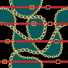 Seamless Pattern With Gold Chains And Red Belts On Light Green And Black Background For Fabric Design. Baroque Golden Illustration.