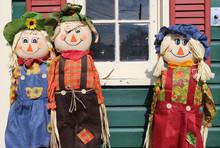 Three Autumn Scarecrow Straw D...