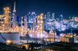Glitter lighting of fossil fuel refinery and petrochemical industrial plant with night, Petroleum industry estate