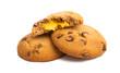 Leinwandbild Motiv chocolate chip cookies with orange cream isolated