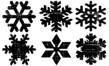 Grunge Textured Snowflakes Collection. Can Be Used As Banners, Insignias Or Badges. Vector Distressed Texture Set. Blank Geometric Shapes. Vector Illustration. Black Isolated On White. EPS10.