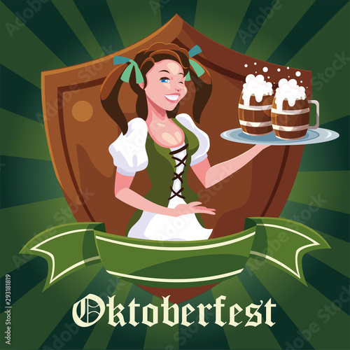 Photo Stands Fairies and elves beautiful woman with german traditional dress and label oktoberfest