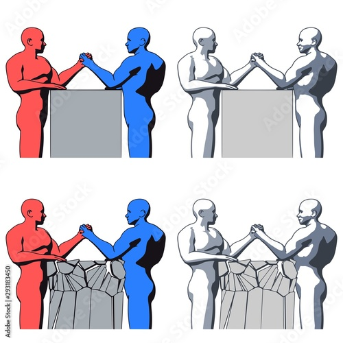 Arm wrestling of strong bald bodybuilder man characters silhouettes flat style i Wallpaper Mural