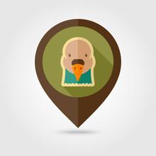 Dove Flat Pin Map Icon. Animal Head Vector Symbol