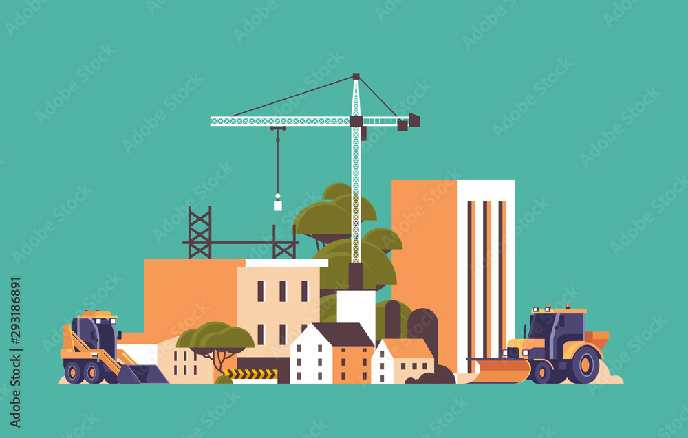 Fototapeta modern construction site with cranes tractor and bulldozer unfinished building exterior flat horizontal