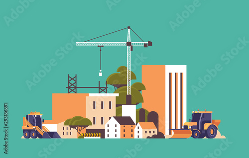 modern construction site with cranes tractor and bulldozer unfinished building exterior flat horizontal