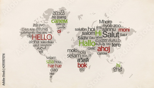 Canvastavla Creative map with different languages on special countries