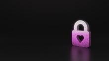 Science Glitter Symbol Of Lock Icon 3D Rendering