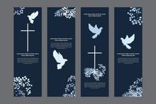 Doves And Flowers Religious Bookmarks Set, Christian Templates Kit, Universal Design