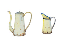 Watercolor Drawing Of Tinware In Vintage Style