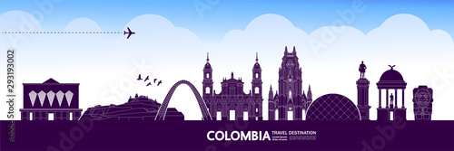 Fotografía  Colombia travel destination grand vector illustration.