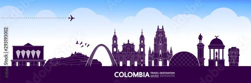 Colombia travel destination grand vector illustration. Canvas Print