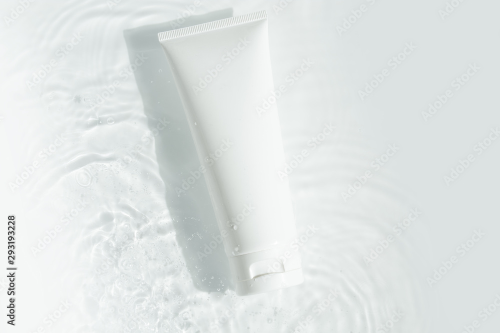 Fototapety, obrazy: beauty spa medical skincare and cosmetic lotion bottle cream packaging product on white decor background with summer water pool fresh concept