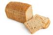 Leinwandbild Motiv Sliced loaf of whole wheat toast bread isolated on white. Three slices lying.