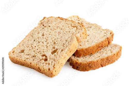 Vászonkép Three slices of whole wheat toast bread isolated on white.