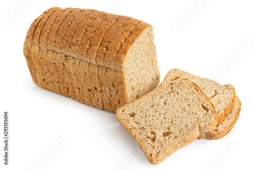 Obraz na plátne Sliced loaf of whole wheat toast bread isolated on white