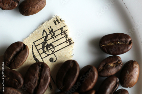 Torn paper notes and coffee beans, macro Canvas-taulu