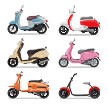 Set Of Colorful Moped In Flat ...