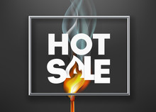 Hote Sale Advertising Banner. Photoreal Vector Illustration