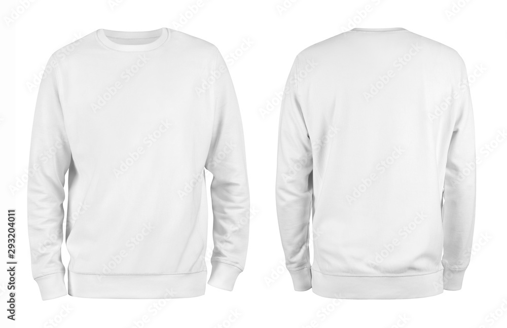 Fototapeta Men's white blank sweatshirt template,from two sides, natural shape on invisible mannequin, for your design mockup for print, isolated on white background.