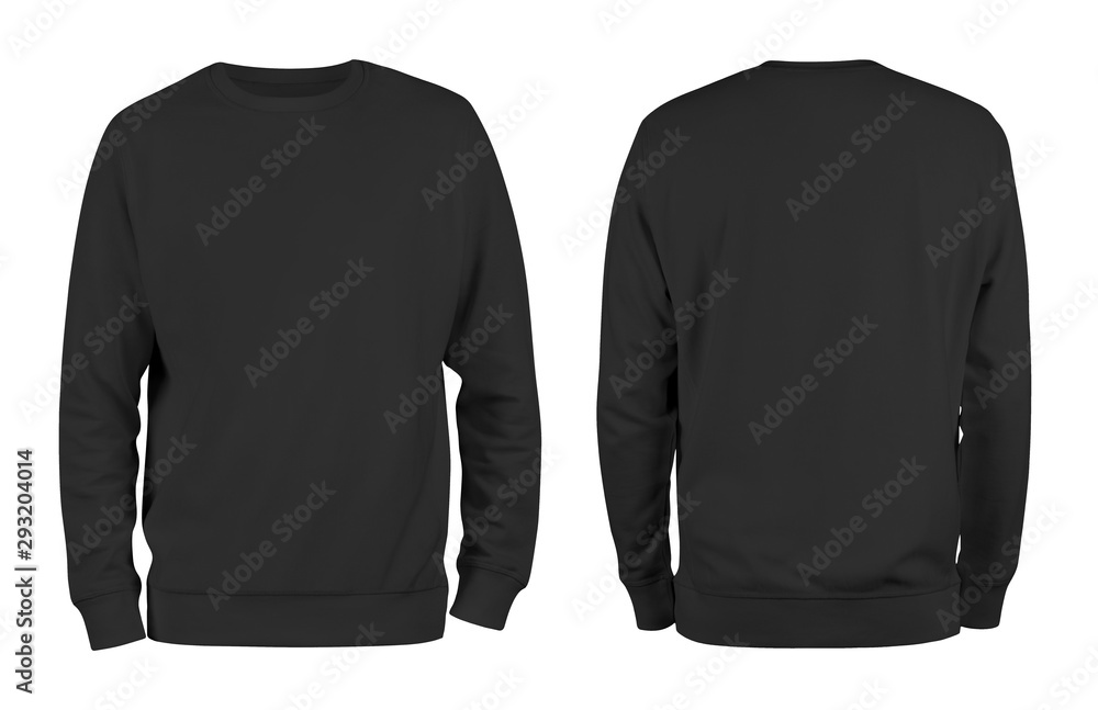 Fototapeta Men's black blank sweatshirt template,from two sides, natural shape on invisible mannequin, for your design mockup for print, isolated on white background.