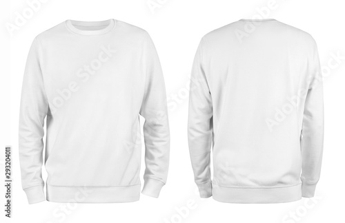 Men's white blank sweatshirt template,from two sides, natural shape on invisible mannequin, for your design mockup for print, isolated on white background Tableau sur Toile
