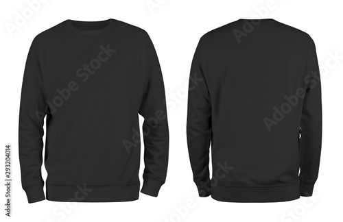 Obraz Men's black blank sweatshirt template,from two sides, natural shape on invisible mannequin, for your design mockup for print, isolated on white background. - fototapety do salonu