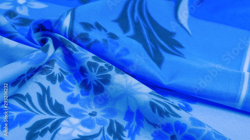 texture, background, pattern, delicate blue silk with floral print Exceptionally lightweight pure silk fabric with a delicate texture Canvas-taulu