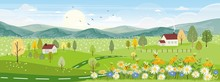 Cute Cartoon Panorama Landscap...