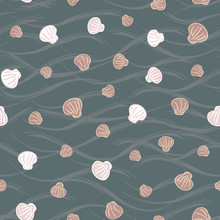 Cute Marine Vector Illustration Background. Seamless Pattern Of Seashells In Autumn Colors. Perfect For Fabric, Invitations, Greeting Cards, Posters, Prints, Banners, Flyers Etc
