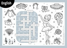 Vector Crossword In English, Education Game For Children. Cartoon Ballerina And Dancing Objects