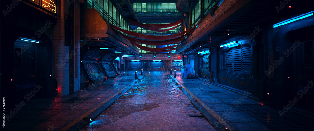 Fototapeta Beautiful neon night in a cyberpunk city. Photorealistic 3d illustration of the futuristic city. Empty street with blue neon lights.
