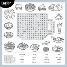 Word Search Puzzle. Cartoon Se...