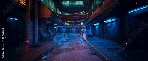 Beautiful neon night in a cyberpunk city. Photorealistic 3d illustration of the futuristic city. Empty street with blue neon lights. - 293208014