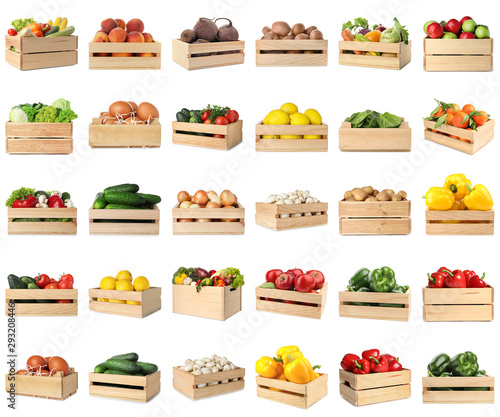 Set of wooden crates with different fruits, vegetables and eggs on white background - 293208446