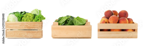 Set of wooden crates with different fruits and vegetables on white background - 293208448