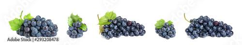 Set of fresh juicy grapes on white background Fototapet