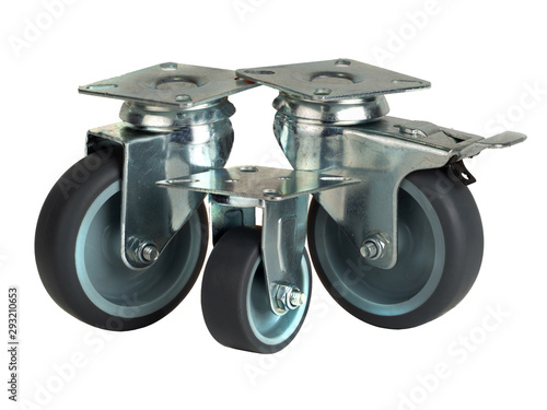 Photo  Wheels made of polyamide and gray rubber in a metal bracket isolated on a white