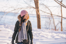 Winter Woman Walking Out On Fo...