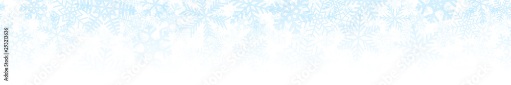 Fototapeta Christmas horizontal seamless banner or background of many layers of snowflakes of different shapes, sizes and transparency. Gradient from light blue to white