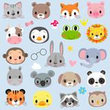 Fototapeta Child room - Faces Cute Cartoon Animals on a white background