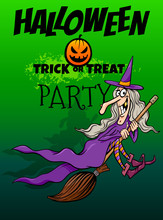 Halloween Holiday Cartoon Design With Witch