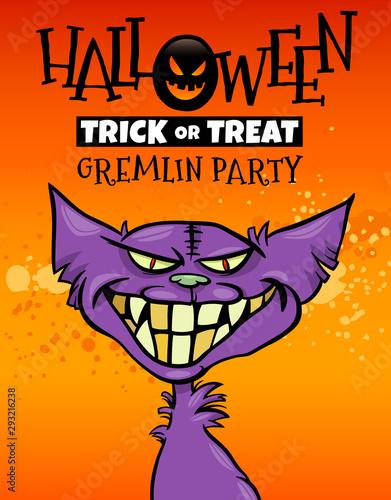 Платно Halloween holiday cartoon design with gremlin