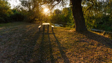 Camping Site By The River, Wonderful Sunset Scene.