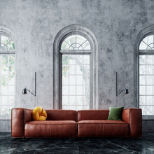 Modern Interior Design With Leather Sofa And Arch Windows 3D Rendering