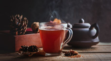 Hot Black Tea In Glass Cup On ...