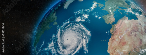 Fototapety, obrazy: Aerial view from the space of a hurricane