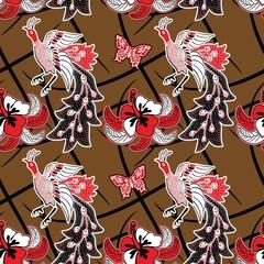 Fototapeta na wymiar Seamless pattern vector. Indonesian batik motif with peacock illustration