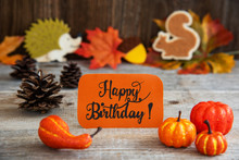 Orange Label With English Text Happy Birthday. Autumn Decoration Like Pumpkin, Hedgehog And Squirrel