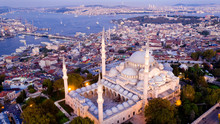 Aerial View Of Istanbul At Sunset
